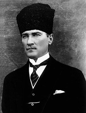 Kalpak - Atatürk wearing a Turkish-style kalpak
