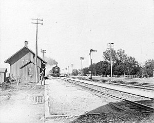 Clements, Kansas - Atchison, Topeka and Santa Fe Railway depot in Clements, circa 1880-1900