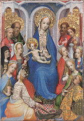 Enthroned Virgin and Child, with Saints Paul, Peter, Clare of Assisi, Mary Magdalene, Barbara, Catherine of Alexandria, John the Baptist, John the Evangelist, Agnes, Cecilia, Margaret of Antioch, and George
