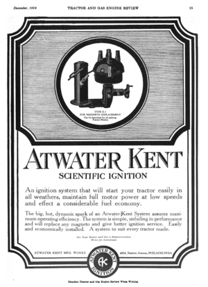 A. Atwater Kent - Image: Atwater Kent advert in Tractor and Gas Engine Review vol 11 no 12 1918