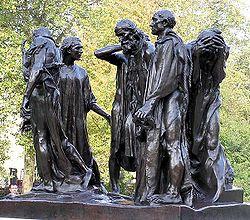 Statue des bourgeois de Calais par Auguste Rodin.