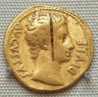 Pudukkottai - Coin of the Roman emperor Augustus from the Pudukottai hoard (British Museum).