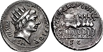 Aquillia (gens) - Denarius of Augustus and Lucius Aquillius Florus, 19 BC.  Sol is portrayed on the obverse. The reverse shows a quadriga carrying a modius, a reference to corn distributions made by Augustus.