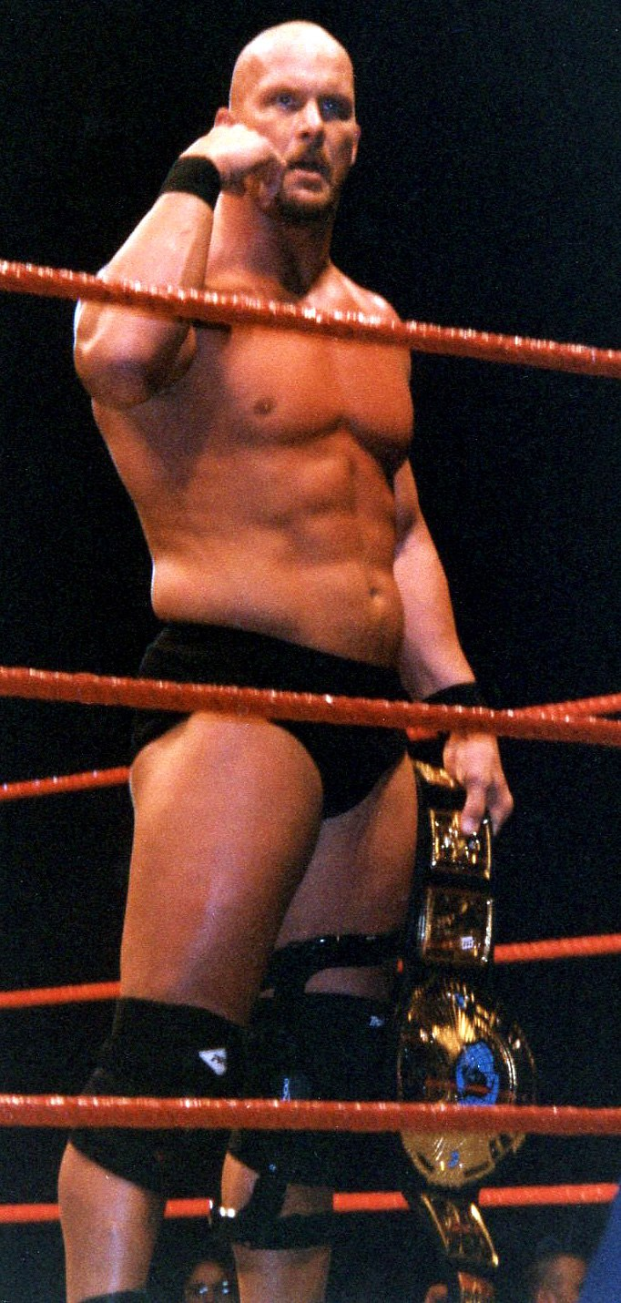 Austin with WWF title