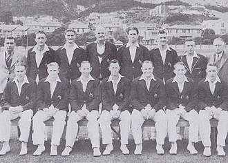Australian cricket team in New Zealand in 1945–46 - The Australian team prior to the Test in Wellington, which attracted crowds of 20,000 on the first day and 16,000 on the second day.