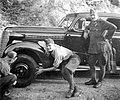 Automobile, car repair, genre painting, soldier, Opel-brand, Gerrman brand Fortepan 2697.jpg
