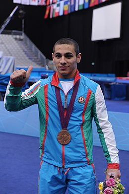 Azerbaijani athlete Valentine Khristov won bronze in the weightlifting competition of the 2012 London Olympic Games 7.jpg