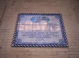 Hispano Aviación - Tiles on the wall of the former Hispano Aviación factory