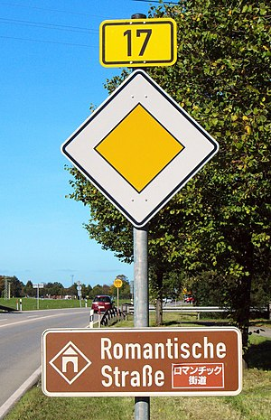 Bundesstrasse 17 / Romantic Road Sign near Röm...