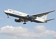 British Airways с хвостом в этнической раскраске.  Boeing 767.