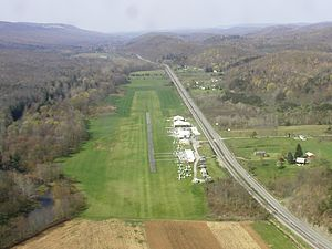 Bald Eagle Valley - The Ridge Soaring Gliderport in the Bald Eagle Valley, looking southwest toward Julian. Bald Eagle Mountain and Bald Eagle Creek are on the left, the Nittany and Bald Eagle Railroad and U.S. Route 220 are in the lower right, and the Allegheny Front is on the top right
