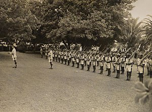 Bermuda Militia Infantry - An Honour Guard from B Coy, BMI, parades at the opening of Parliament in 1945
