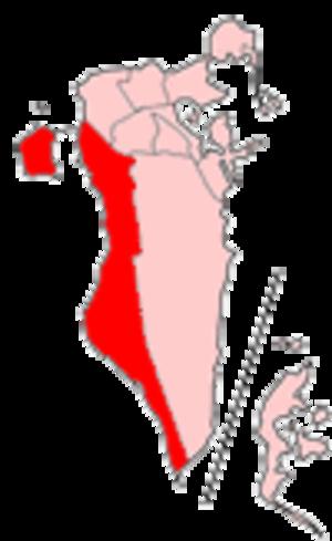 Western Region, Bahrain - Map of Bahrain showing Al Mintaqah al Gharbiyah municipality
