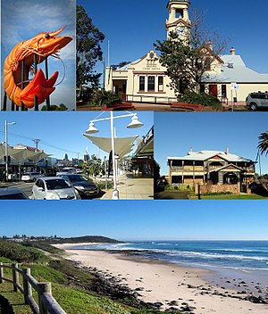 Ballina, New South Wales - Clockwise from top left: The Giant Prawn, Ballina Court House, Ballina Manor, Shelly Beach, River Street Mall.