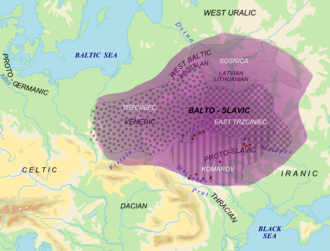 History of Proto-Slavic - Area of Balto-Slavic dialect continuum (purple) with proposed material cultures correlating to speakers of Balto-Slavic in the Bronze Age (white). Red dots = archaic Slavic hydronyms
