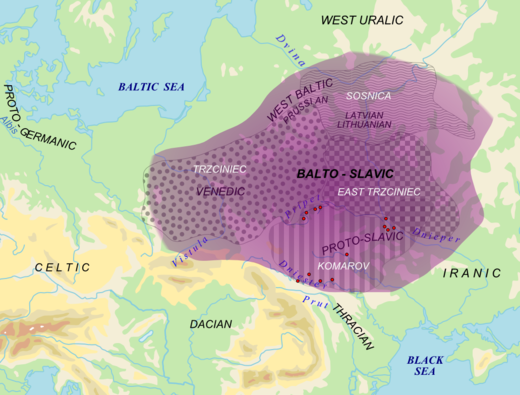 Area of Balto-Slavic dialectic continuum (purple) with proposed material cultures correlating to speakers Balto-Slavic in Bronze Age (white). Red dots = archaic Slavic hydronyms Balto-Slavic lng.png