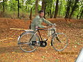 Bandhavgarh forest patrol guard patrolling Magdhi Zone on a cycle..JPG