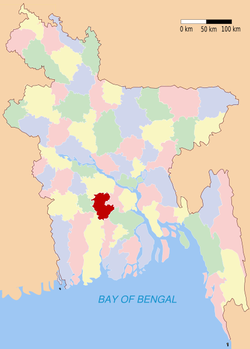 Location of Gopalganj in Bangladesh