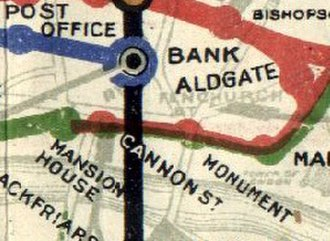 Bank and Monument stations - Bank and Monument shown on a 1908 Tube map. Bank was served by the Central London (blue) and City & South London (black) railways, while Monument was served by the Metropolitan (red) and District (green) railways.