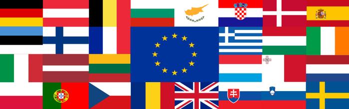 Drapeaux de l'UE.