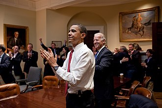 Patient Protection and Affordable Care Act - The President and White House Staff react to the House of Representatives passing the bill on March 21, 2010.