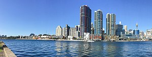 Barangaroo, New South Wales - The Barangaroo skyline showing the International Towers Sydney (August 2017)