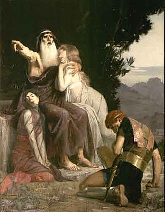 Ismene - Oedipus (with Ismene and Antigone) condemns Polyneikes. Oil painting by Marcel Baschet (1883)