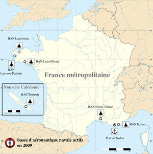 Naval air station - Active naval air stations of the French naval air arm (status 2009). Two of them were deactivated in 2011.