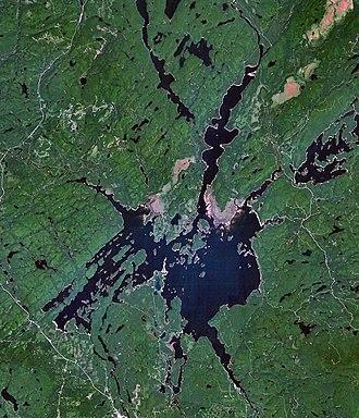 Baskatong Reservoir - Highway 117 is visible in the lower left corner