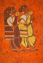 A batik painting depicting two Indian women.