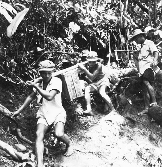 Filipino volunteers carry supplies to the 12th Cavalry Brigade Battle of Leyte Filipino volunteers.jpg