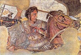 Alexandre le Grand sur son cheval Bucéphale, détail de la mosaïque romaine de Pompéi représentant la bataille d Issos, musée national archéologique de Naples