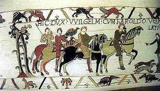 Medieval hunting - King William I and King Harold II of England, Bayeux Tapestry.