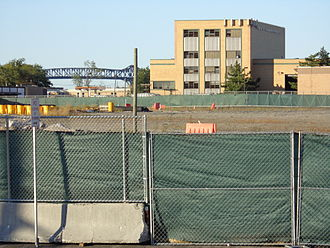 Bayfront, Jersey City - Bayfront site looking north to Jersey City Public Works building and Pulaski Skyway