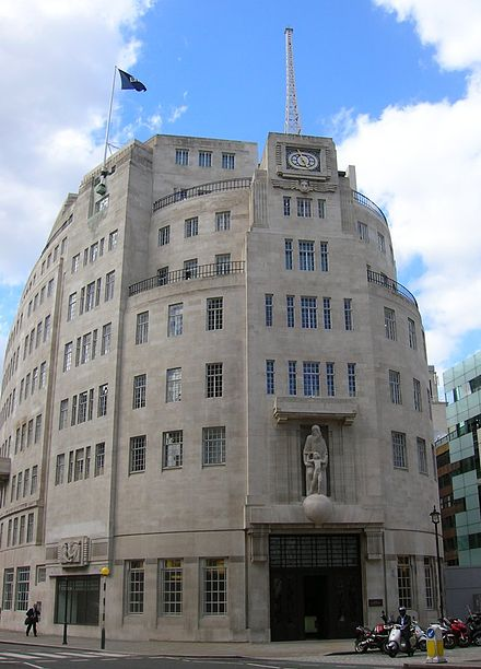 Much of BBC radio comes from Broadcasting House, Portland Place at the head of Regent Street, London Bbc broadcasting house front.jpg