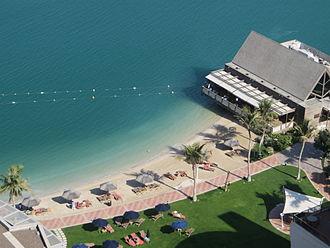 Beach Rotana - View of the beach at the Beach Rotana hotel, Abu Dhabi.
