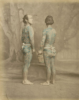 Yakuza - An early example of Irezumi tattoos, 1870s.