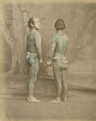 Yakuza - An early example of Irezumi tattoos, 1870s.