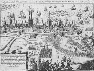 Siege of Stralsund (1628) - The siege, contemporary engraving.