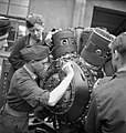 Belgian trainees at work on a Hercules aero-engine at the Belgian Air Training School at Snailwell in Cambridgeshire, 1945. D25511.jpg