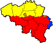 Languages and provinces of Belgium (yellow: Dutch language, red: French language, orange: bilingual French - Dutch, blue: German language)