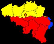 Languages and provinces of Belgium (yellow: Dutch language, red: French language, orange: bilingual French - Dutch, blue: German language)