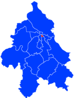 Location of Vračar within the city of Belgrade