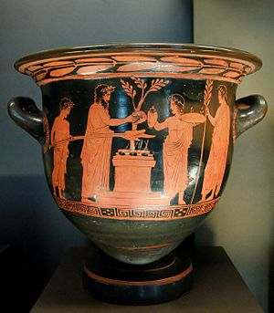 Libation - Scene of sacrifice, with a libation poured from a jug (Pothos Painter, Attic red-figure krater, 430–420 BC)
