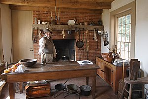 Benjamin Stephenson House - The restored, interior kitchen at the Stephenson House. Note the restored fireplace.