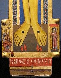 Berlinghiero berlinghieri, croce firmata con dolenti, assunta, diniego di pietro, evangelisti, 1200-1250 ca., da s.m. degli angeli (LU) 03.JPG
