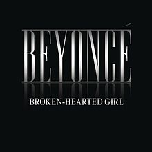 "The words ""Beyoncé"" and ""Broken-Heatred Girl"" are written in silver capital letters over a black background."