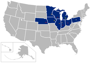 2010–14 Big Ten Conference realignment - Image: Big 10 map