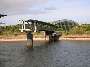 Irvine, North Ayrshire - The old 'Big Idea' building and the footbridge.