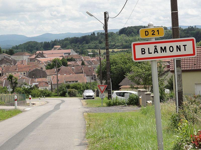 Blâmont (M-et-M) city limit sign